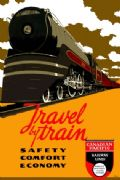Vintage Travel Poster Travel by Train Canadian Pacific